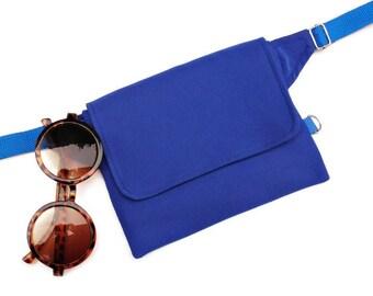 Blue Fanny Pack,Adjustable Hip Pack,Waist Pocket Bag,Utility Belt Vegan,Small Waist Pouch,Cute Hip Purse,Travel Fannypack,Gürteltasche