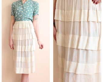 1910s Edwardian Skirt // Silk Tiered Ruffle Skirt // vintage Edwardian skirt