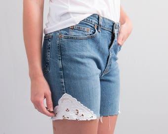 Reworked Cutoffs * Medium – Dark Wash Denim Cutoff Shorts w/ Lace Insets * Size 4 * X-small - Small * FREE SHIPPING