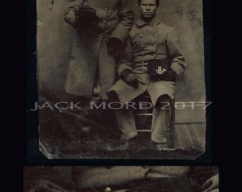 1860s Tintype Photo of Two Civil War Soldiers - 9th Infantry