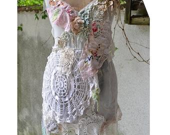 Unique Lovely Feminine Romantic White Tunic MY SWEET DOILIES  Fairy Gipsy Old Doilies Antoinette Boho Tattered