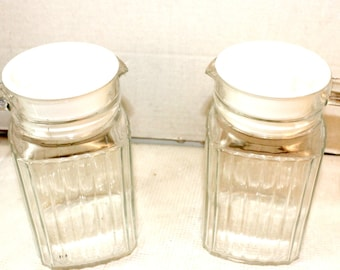 Lot of 2 Vintage Glass Pitchers with handles ribbed design