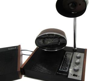 Mid Century Modern Desk Clock Radio Lamp The Longines Symphonette AM FM Office Home Decor Vintage Desk Lamp MCM Black and Silver