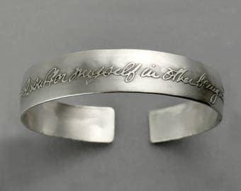 Sterling Story Cuff - Custom Gift Handwriting Sterling Silver Bracelet | inspirational memorial wedding anniversary graduation signature