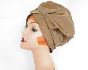 Vintage 1960s hat, bubble toque, caramel brown, Capadors, mod