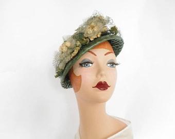Vintage 1940s hat, green straw, 30s/40s Evelynvaron model