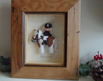 PERSONALISED HORSE RIDER, Framed Polymer Clay Figure & Pony, Equestrian, Gift