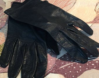 Black Small Leather Driving Gloves