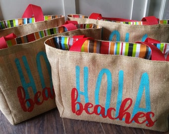 5+ Hola Beaches - Custom Destination Wedding Welcome Burlap Beach Tote Bags - Handmade