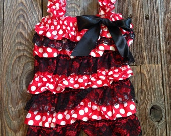 Red or Pink polka dot Minnie Mouse inspired romper - great for photos or First Birthdays!