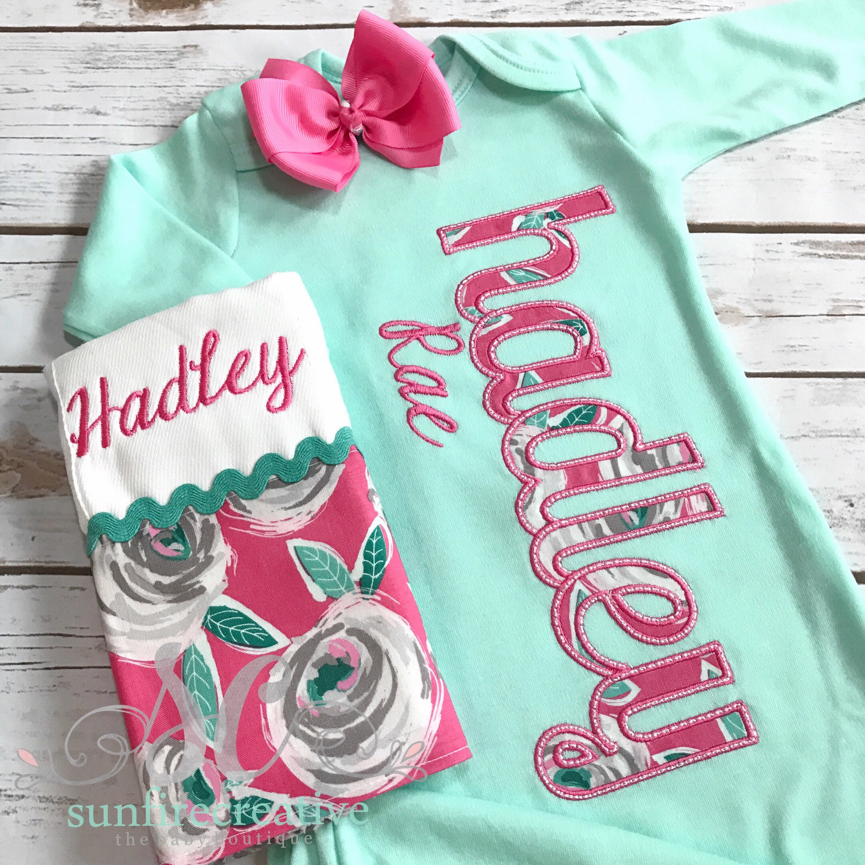 Baby Girl Coming Home Outfit - Mint Sleeper With Bow - Baby Gown ...