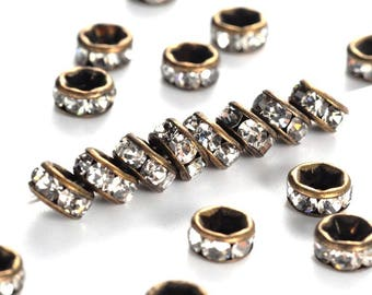 50 pcs Antique Bronze Clear Rhinestone Rondelle Spacer Beads Grade AAA - 4mm x 2mm - Hole Size: 1mm