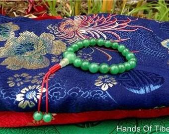 Tibetan Mala Green Jade Wrist Mala with Guru Bead for Meditation