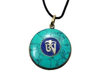Handmade Tibetan Turquoise Om Pendant