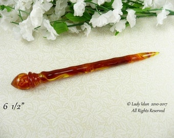 Hair Stick Longer Length Faux Amber Acrylic