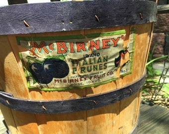 Vintage Bushel Basket with Label McBirney's Italian Prunes Split Wood