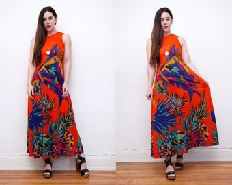 Vintage Floral Low Back Backless Summer Abstract Boho Hippie Maxi Dress 70's