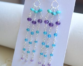 Long Gemstone Earrings, Turquoise Amethyst Apatite, Aqua Blue Purple, AAA Stones, Tassel, Sterling Silver Jewelry, Free Shipping