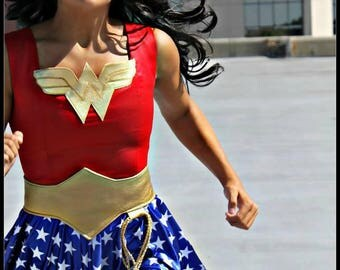 Wonder Woman Dress -  Girls Custom Made Costume, Super Hero inspired Costume, Girls Sizes