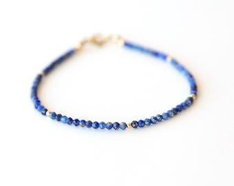 Stackable Modern Lapis and Shiny Ball Bracelet  / Dainty Layering Gemstone Bracelet