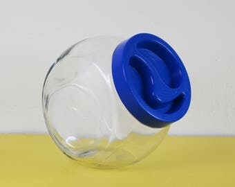 Vintage Sweet Jar, Retro Glass Cookie Jar, Tilting Glass Sweet Shop Jar, Blue Plastic Lid Glass Jar, Retro Kitchen Storage Jar, Pasabahce