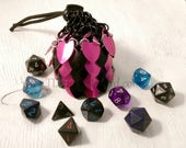 Ready To Ship - Small Black & Pink Scalemaille Dice Bag - In Stock
