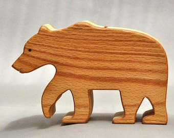 Bear Piggy Bank, Grizzly Bear Coin Box Animal Savings Bank Wooden Waldorf Montessori Gift for Kids Boys and Girls Birthday Party Nontoxic