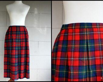 Vintage Pendelton Skirt / 70s Plaid Wool Skirt /Red Tartan Pleated Midi Skirt