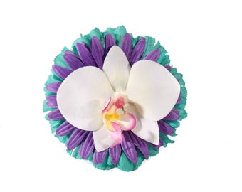 Purple Teal and White Daisy and Orchid Tropical Pinup Hair Flower Fascinator Clip