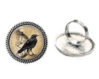 Raven and Clock Glass 25mm Cabochon Silver Double Rope Adjustable Ring