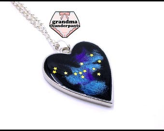 I LOVE SPACE Necklace, Space Heart, Space Jewelry, Galaxy Necklace, Stars, Galaxy Jewelry