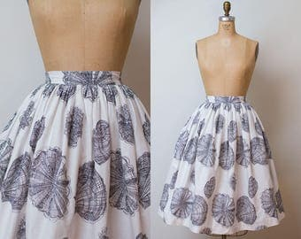 1950s Shell Print Skirt / 50s Cotton Skirt