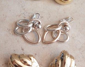 Clip On Earrings Three Pair Lot MetallicTones Vintage V0840