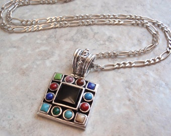 Southwestern Style Necklace Sterling Silver Square Turquoise Lapis Rhodonite Onyx Vintage 130603