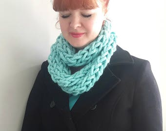Turquoise knit scarf