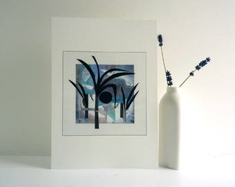 Woodland art print, my original artwork, Nature inspired art collage, contemporary home