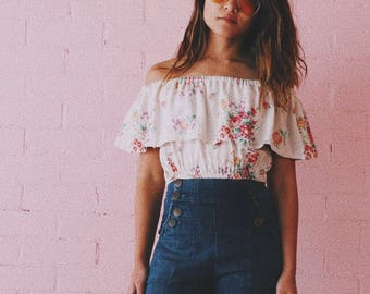 Señorita top // made from vintage barkcloth