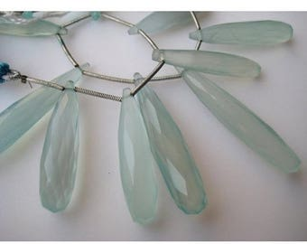 ON SALE 55% Aqua Chalcedony, Blue Chalcedony, Briolette Beads, Tear Drop Beads, Faceted Gemstones, 4 Pieces, 20-25mm Each,