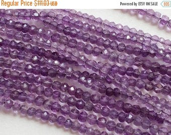ON SALE 50% 5 Strands WHOLESALE  Amethyst Beads, Amethyst Faceted Rondelles, Amethyst Necklace, 3.5mm To 4mm Micro Faceted Rondelles, 14 Inc