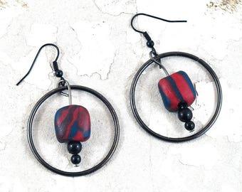 Red Black Marbled Hoop Earrings - Polymer Clay Jewellery with Gunmetal Black - Handmade Minimalist Earrings on Etsy by DeeDeeDeesigns