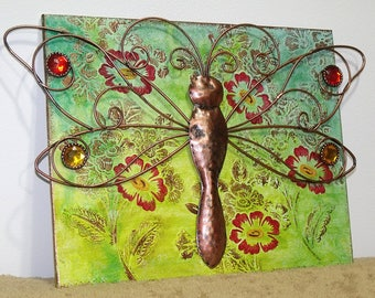 Copper Dragonfly Mixed Media Canvas Art - boho style hippie chic bohemian indie art home decor