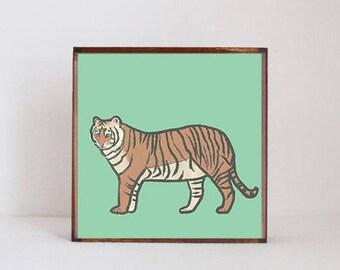 tiger, safari nursery art, tiger nursery art- animal print,  safari nursery print, jungle nursery decor-  playroom- tiger art- redtilestudio