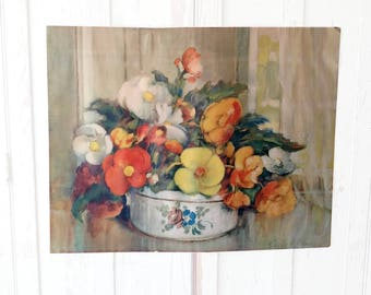 22 x 28 Vintage Lithographed Print Carle J. Blenner Floral Still Life Painting Hang As Is or Frame