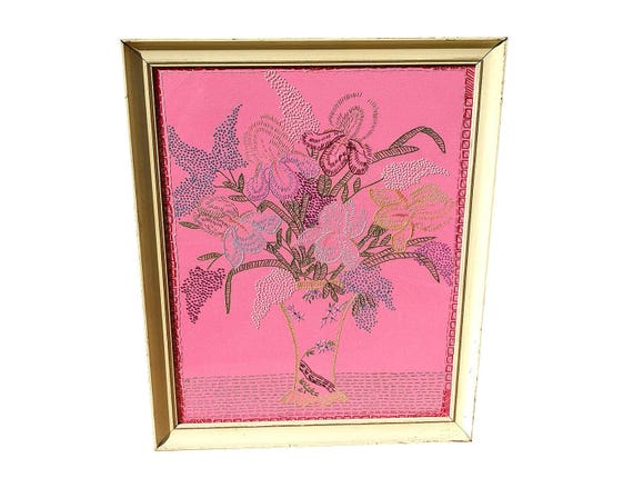 Gorgeous Framed Vintage Needlework Flower Power Bouquet in Vase on Fluorescent Pink Stretchy Polyester Under Glass in Butter Yellow Frame