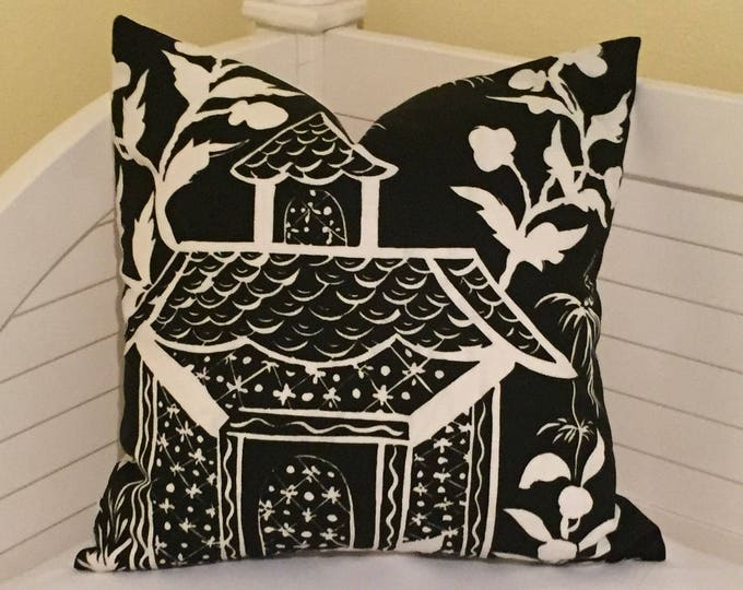 HOLIDAY SALE and FREE Shipping, Quadrille China Seas Lyford Black and White 20 x 20 Designer Pillow Cover