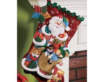 Bucilla Patchwork Santa Stocking