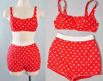 Vintage 50s 2Pc SWIMSUIT / 1950s Red Cotton White POLKA DOTS Crop Sun Top Mini High Waist Shorts Set Playsuit Pinup Sun Suit Xs Small S