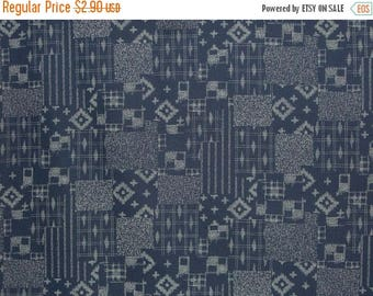 ON SALE REMNANT--Japanese Indigo Patchwork Design Print Pure Cotton Fabric--5/8 Yard
