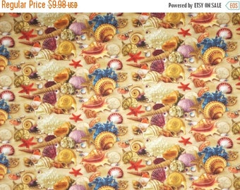 ON SALE Colorful Misc Shells on Sand Print Pure Cotton Fabric--By the Yard