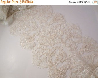 "ON SALE Ivory Exotic Design French Beaded Alencon Lace Trim 10"" Wide--One  Yard"